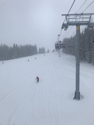 Vail - Snow and more snow.  Place needed it.  Not terribly crowded for Sunday pow day.  Poor visibility. Good snow! - © iPhone