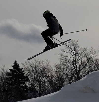 Mount Snow - Last weekend was great on Friday and Saturday until the rain came on Sunday. Here is my son getting some air ! - © Dan iPhone