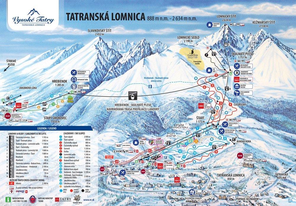 Mapa zobrazuje umiestnenie prepájacej lanovky medzi Smokovcami a Tatranskou Lomnicou - © TMR