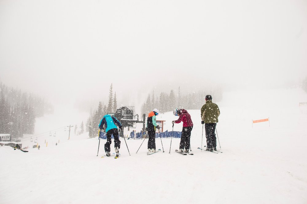 Snow on the ground, snow coming down and no lift line? Those are four lucky skiers! - © Monarch Mountain