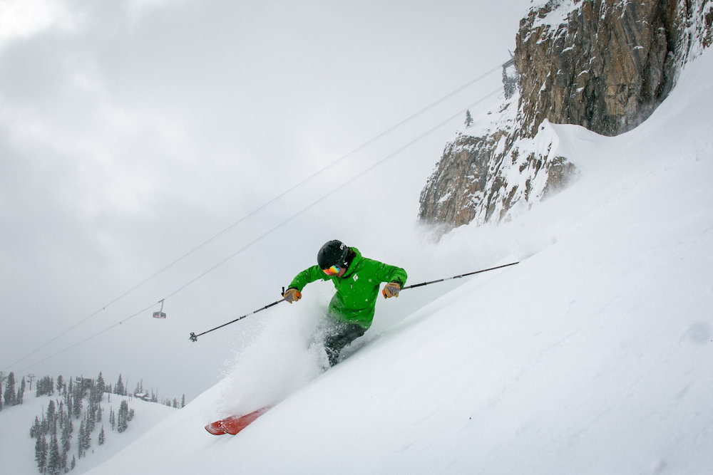 A skier drops into some of the best conditions March has to offer at Jackson Hole. - © Jackson Hole