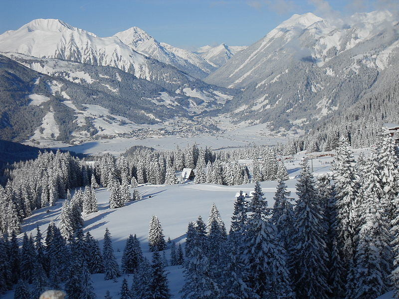 Looking down to Ehrwald from the ski slopes.