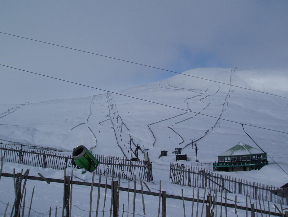 A snow cannon in view of the slopes at Glenshee, Scotland. Copyright: Cairnwell Mountain Sports