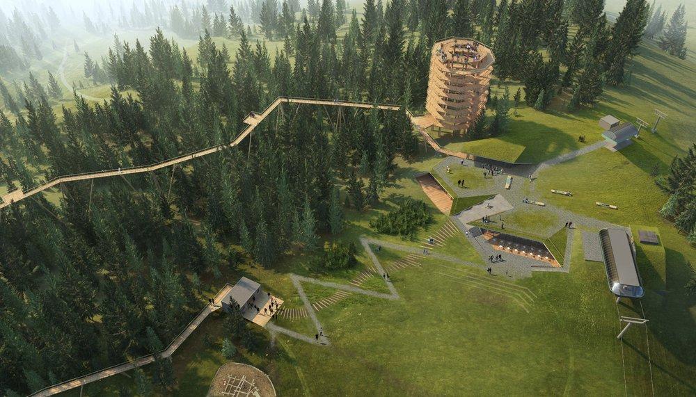 Letecký pohľad na reštauráciu, lanovku a Chodník korunami stromov (vizualizácia) - © Ski Bachledka