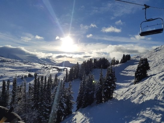Sunshine Village - Beautiful day for riding. Sun was out right until some of the last runs. a little icy in areas but lots of good areas for decent  runs. Most runs open at this point - © anonymous
