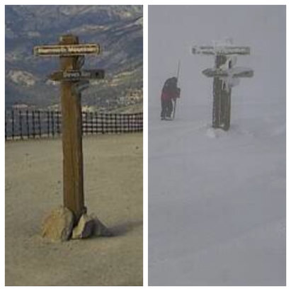 Mammoth Mountain Ski Area - 8 days of snow.  Pole is (was) 19 feet tall.  Photo in left was 11.22.18  today on right is 11.30.18 - © nowline's iPhone