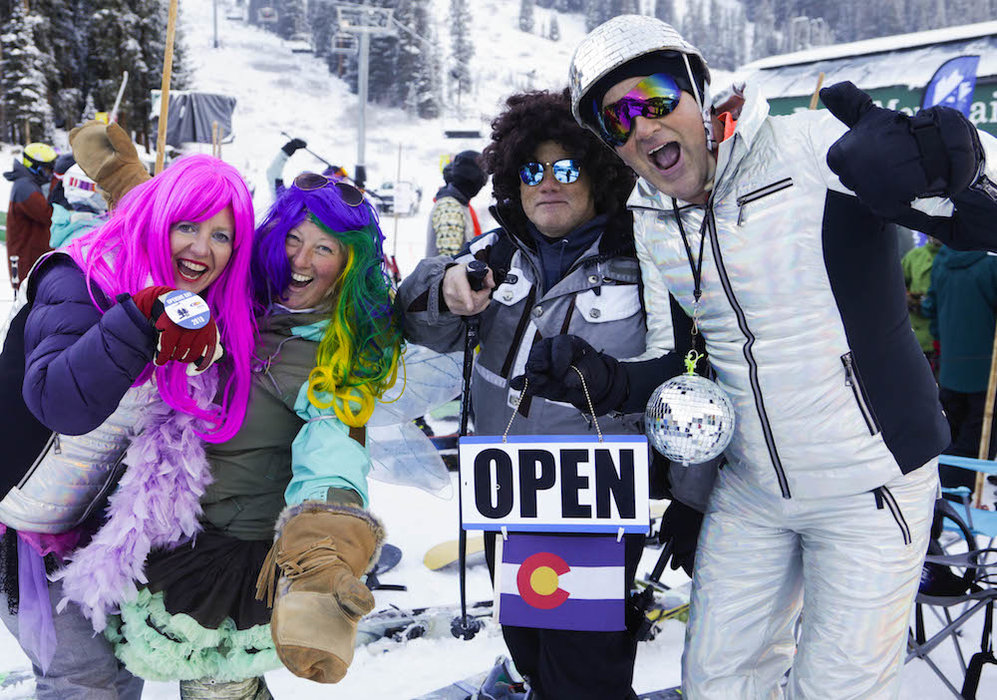 A few of A-Basin's happy customers on opening day. - © Jack Dempsey, Arapahoe Basin