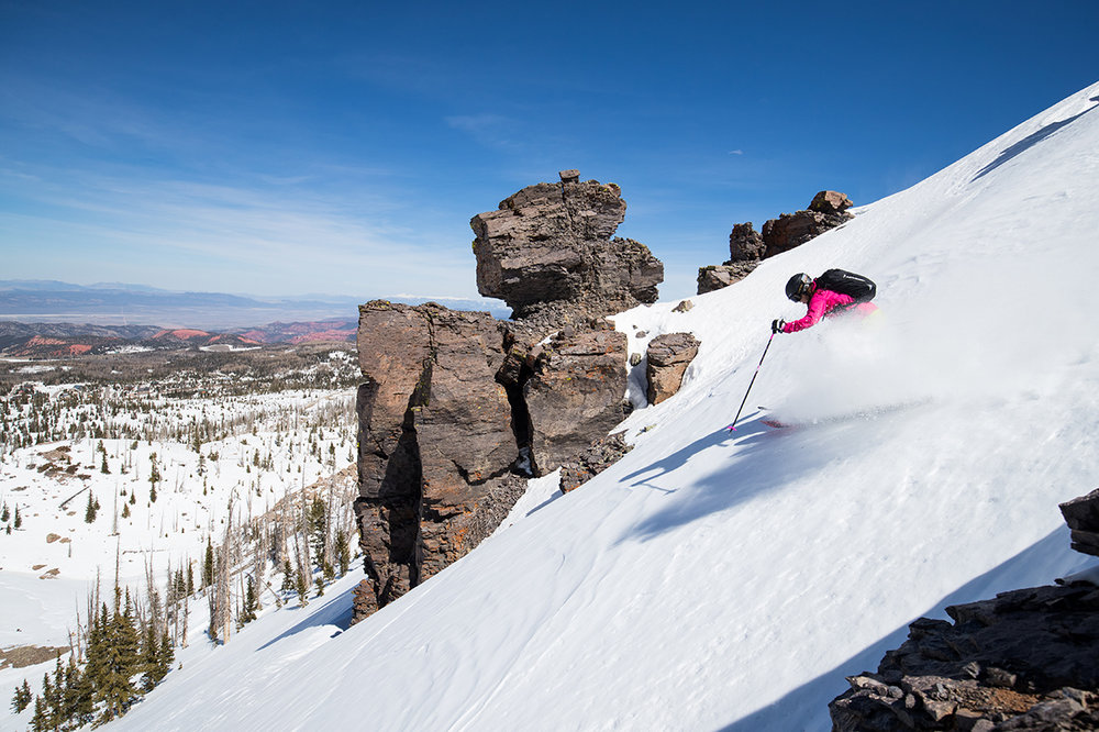 Brian Head Resort boasts the highest base among Utah's ski resorts and showcases snow-dusted red rock hoodoos from the nearby Cedar Breaks National Monument. - © Adam Clark