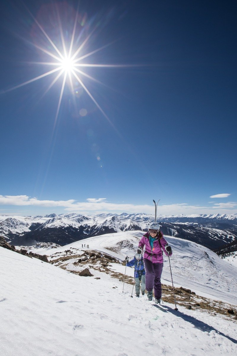 When spring skiing, think about following the sun—start on east- or south-facing slopes and move clockwise to the west and lastly to north-facing slopes. - © Dave Camara