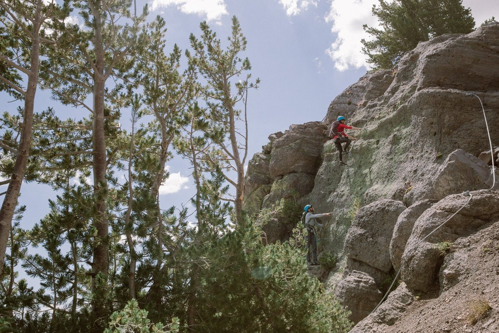 Mammoth Via Ferrata climbers are outfitted with a harness, helmet and some special shoes to help grip the rock better. - © Peter Morning (Mammoth Mountain)