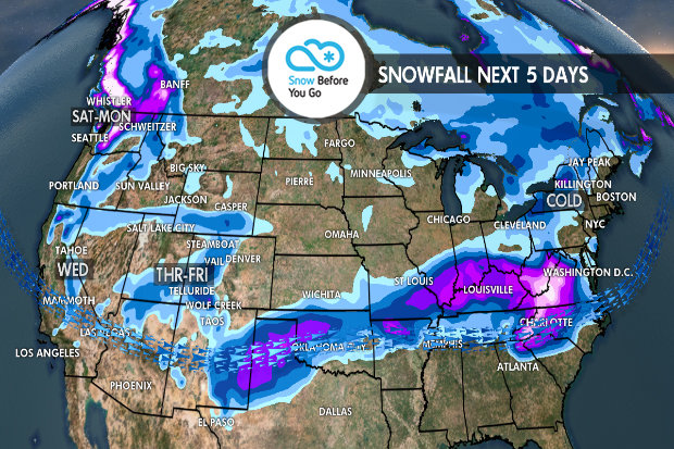 Tomer's Take: Ski Loveland, Breckenridge or Winter Park on Friday, Wolf Creek on Saturday, Taos or Angel Fire Sunday, and Whistler Blackcomb on Monday. - © Meteorologist Chris Tomer
