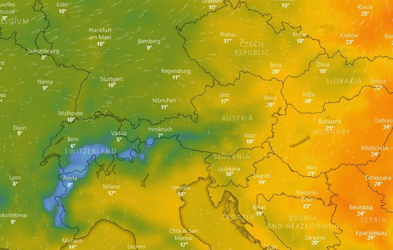 Vývoj teplôt v najbližších dňoch - © repro z windy.com