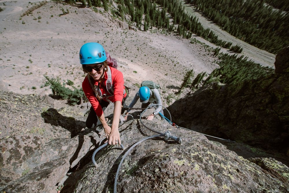 Via Ferrata routes allow climbers to more safely traverse the mountain using steel safety cables, metal rungs, steps and bridges that are permanently fixed to the rock. - © Peter Morning (Mammoth Mountain)