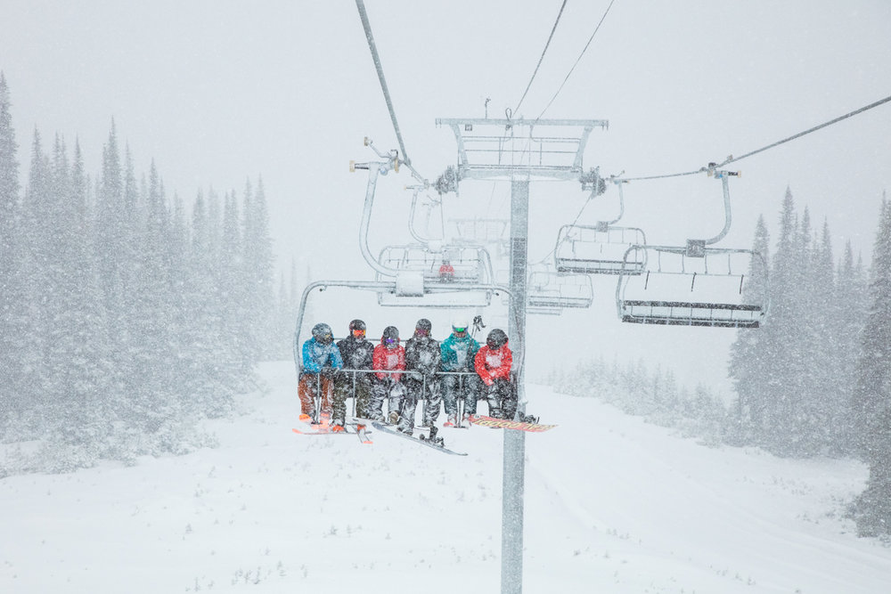 Hope these skiers and riders layered like it was mid-winter for the November opener. - © Mitch Winton, Whistler Blackcomb