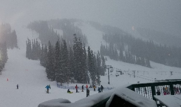 Arapahoe Basin Ski Area - snowing heavy no visibility  basically anywhere on the mountian. theres fresh powder everywhere and lines are a minimum. windy and cold at the top  - © danny