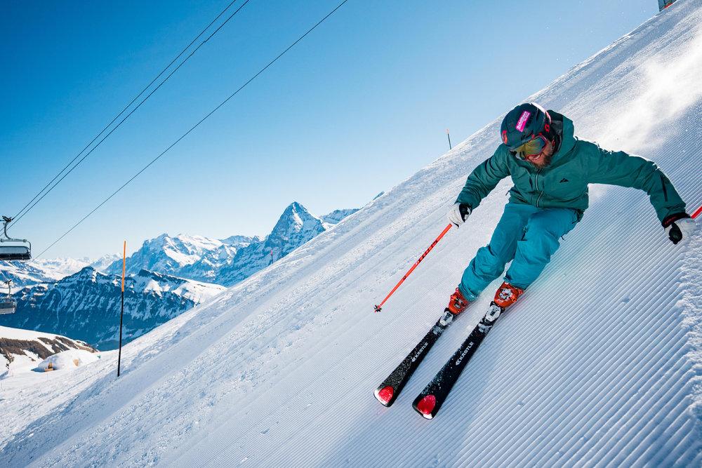 Die Direttissima ist die steilste Piste in der gesamten Jungfrau Region - © SCHILTHORNBAHN AG