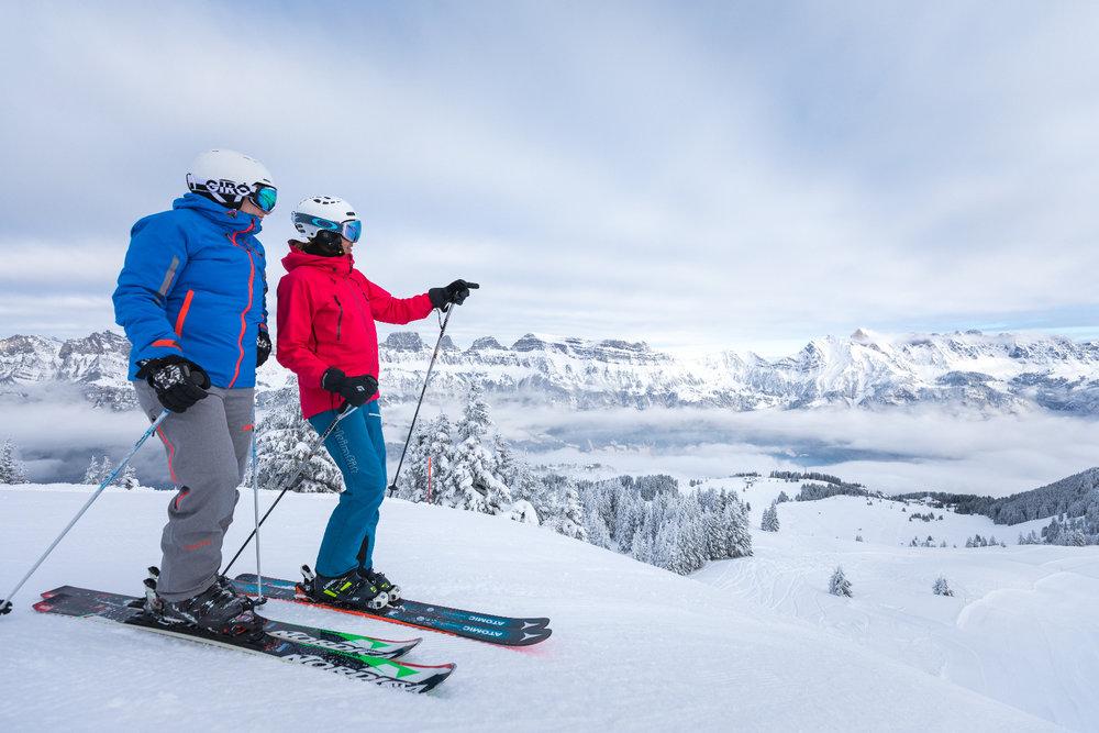 Tief verschneit im Skigebiet am Flumsberg - © Bergbahnen Flumserberg