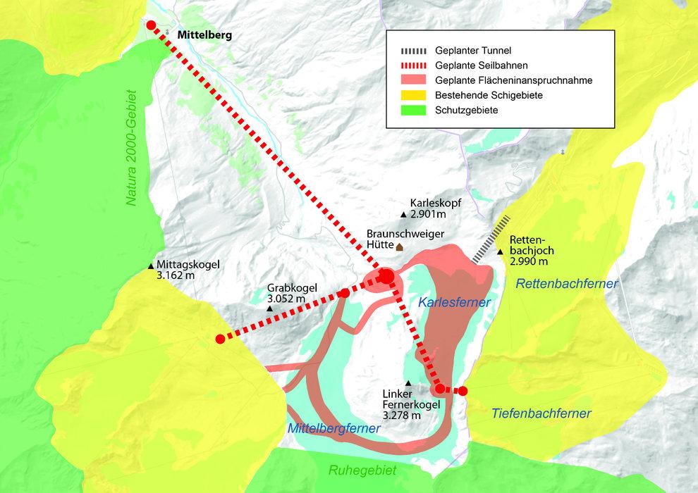 Pläne zur Gletscherverbauung Pitztal-Ötztal - © Allianz für die Seele der Alpen