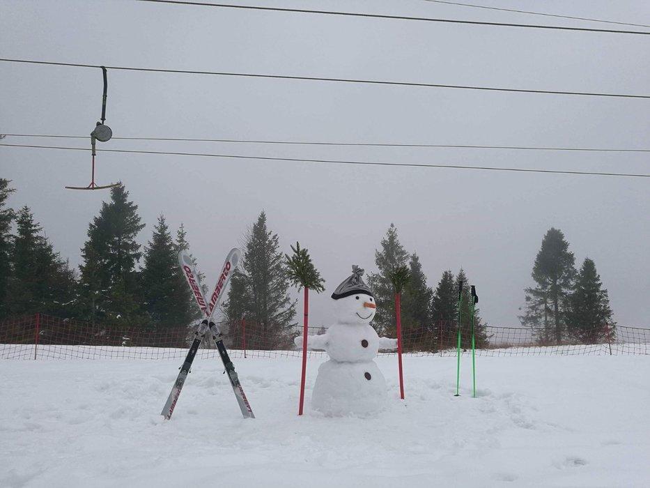 Ve Slovenském Ráji vyrostl na začátku března sněhulák (Ski Gugel Mlynky) - © facebook - Ski Gugel Mlynky