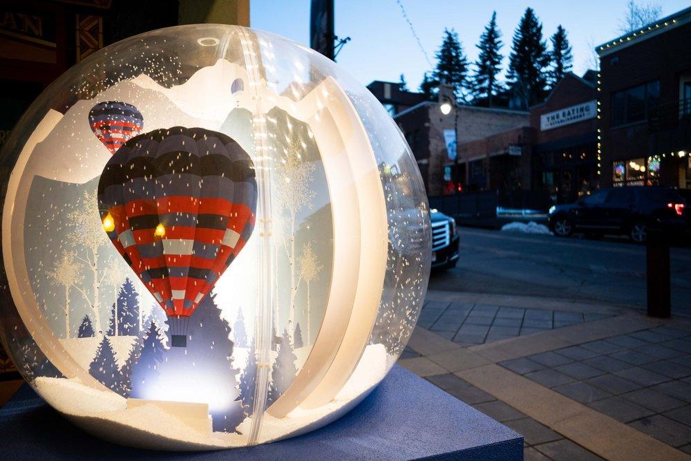 Snow globes line Main Street in Park City