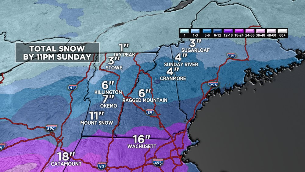 Stick to Southern VT for the best snow this weekend.  - © Meteorologist Chris Tomer