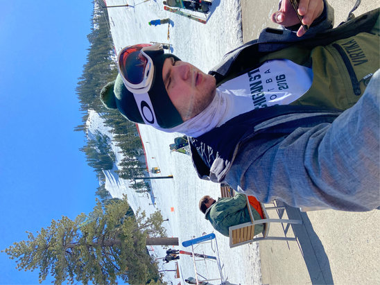 """Squaw Valley Alpine Meadows - Another great day on the slopes with one of the MSU Dawgs Nicky P """"77"""".  Snow is super and crowds are scant.  With a 4 day pass you can't go wrong - © P Daddy"""