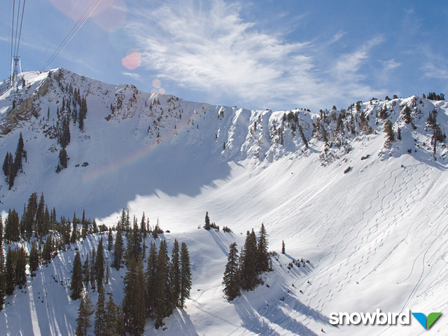 A view of the mountains in Snowbird, Utah