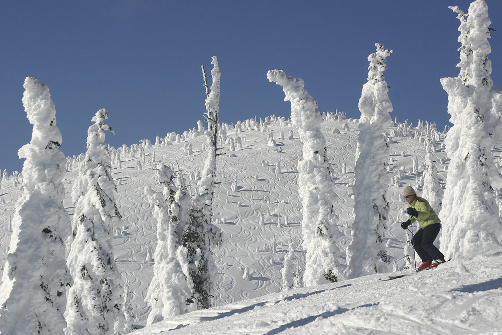 A skier glides by snow ghosts in Hellroaring Basin at Whitefish Mountain Resort, Montana. Photo: Whitefish Mtn Resort/Brian Schott