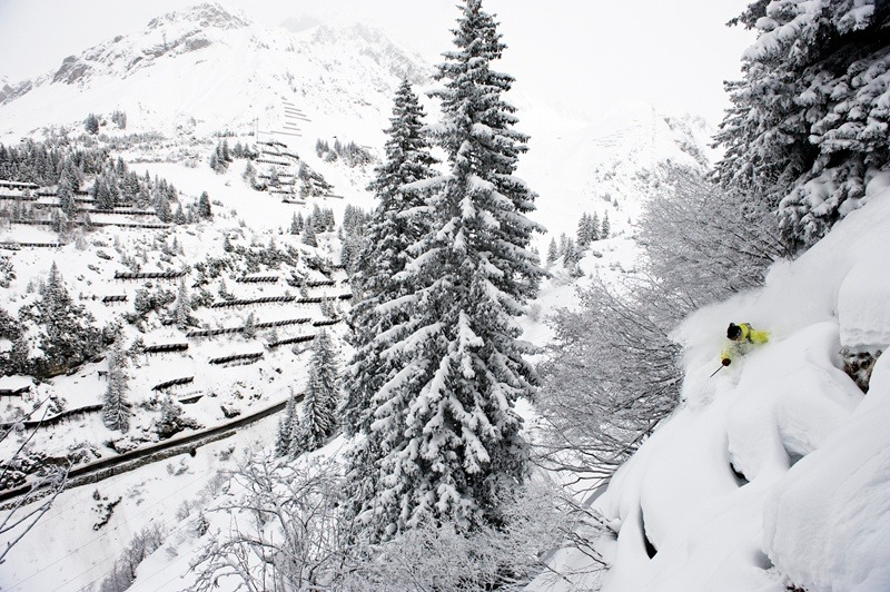 Just above the town of St Anton is some of the Arlberg's best trees. If it gets too crowded, skiers take the bus over to Sonnenkopf or Stuben where this shot of Sebastian Garhammer was taken.