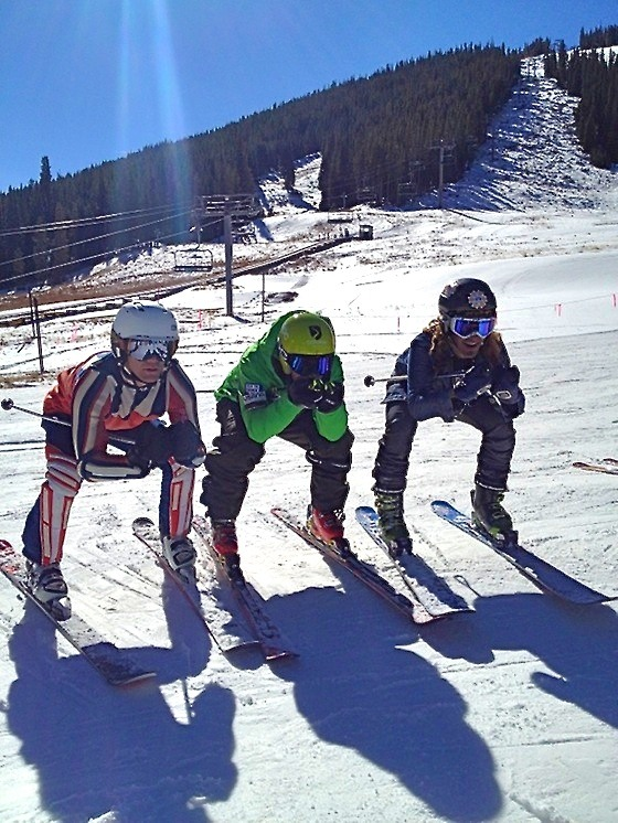 Travis showing how to get low and gain speed on the Downhill course at Copper Mountain.