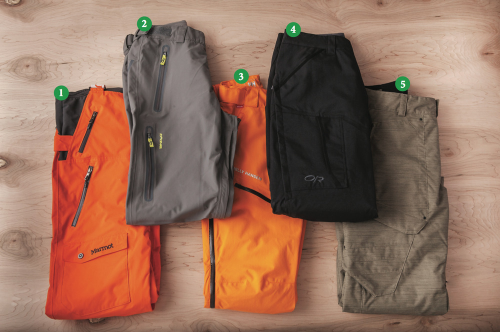 Men's Pants: 1) Marmot Rosco Bib; 2) Dakine Clutch Pants; 3) Helly Hansen Verglas Randonee Pant; 4) Outdoor Research Blackpowder Pants; 5) Obermeyer Yukon Pant - © Julia Vandenoever