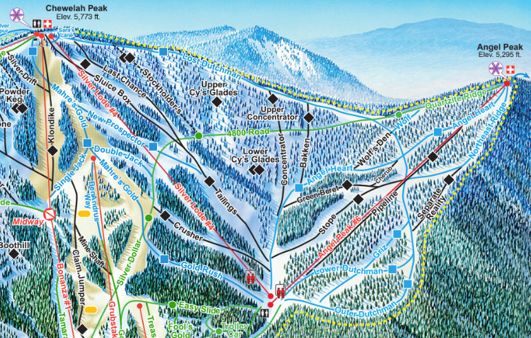 New Angel Peak Lift at 49 Degrees North. Map courtesy of 49 Degrees North.