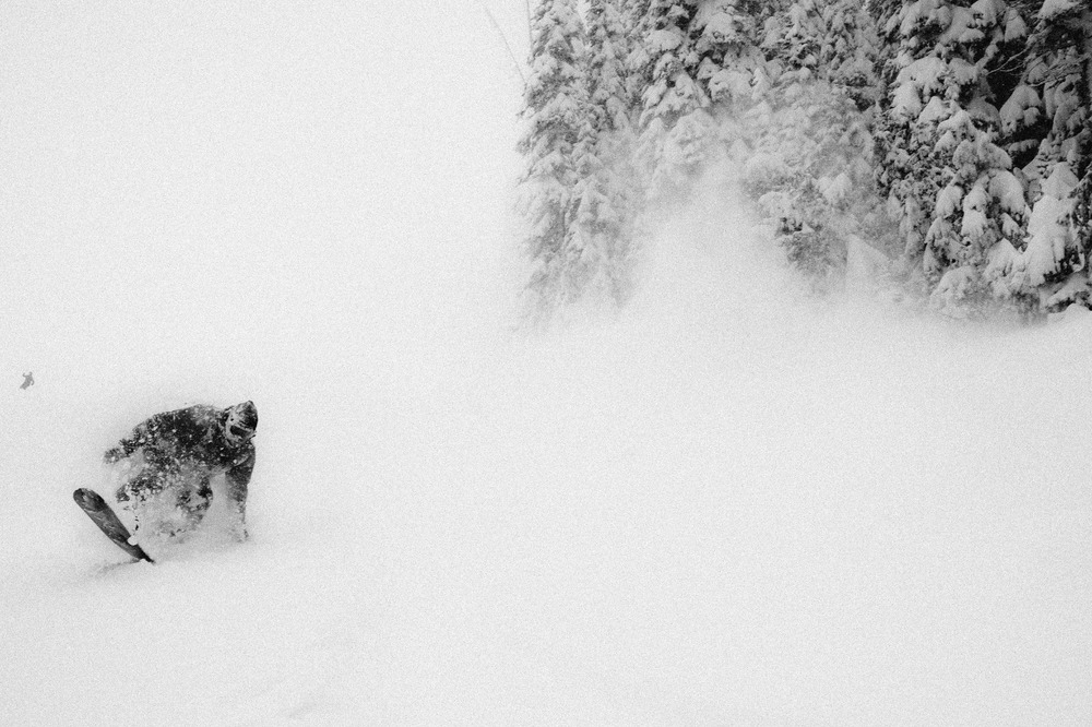 Sunday morning brought some of the highest winds and most varied snow conditions I've ever witnessed. Even though he couldn't see a thing Spencer Cordovano led the charge down Warm Springs. - © Tal Roberts