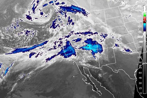 A storm tracks across the Sierra Nevada. - © NOAA