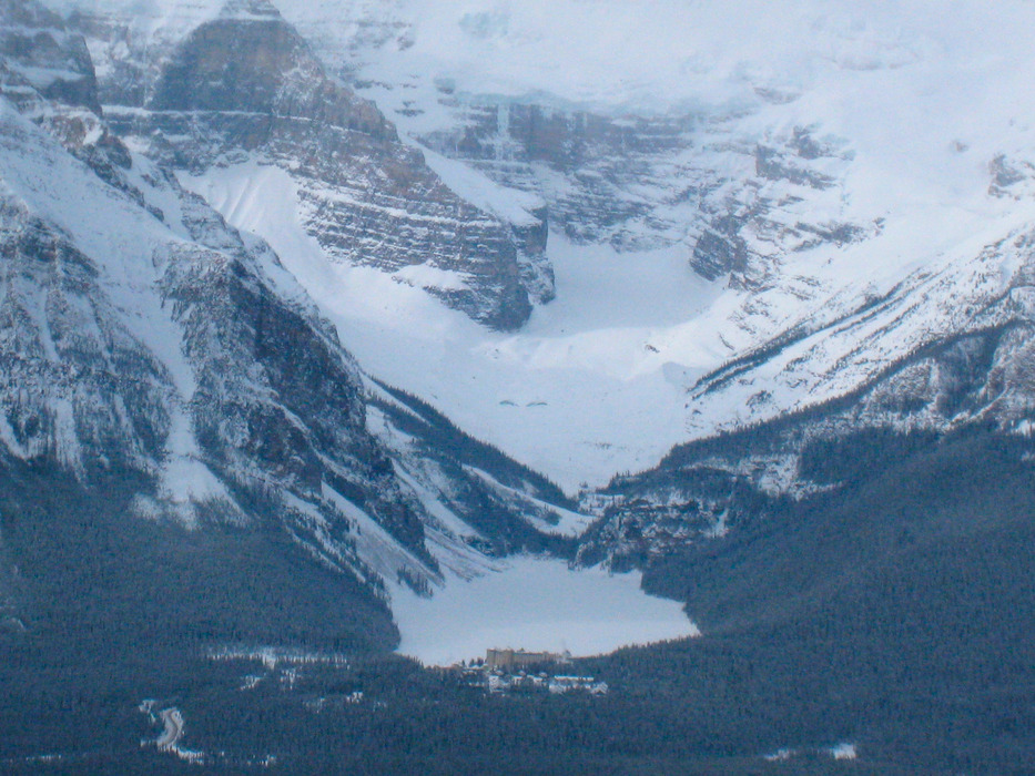 From Lake Louise Ski Area, the view leaps across valley to Chateau Lake Louise.  - © Becky Lomax
