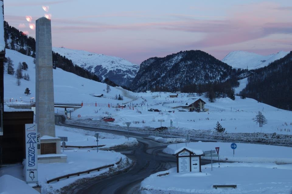 Sunset over snowy Montgenevre Dec. 12, 2012