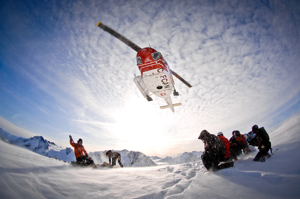 The chopper takes off with Tyax Lodge Heli-Skiing. - © Randy Lincks/Andrew Doran
