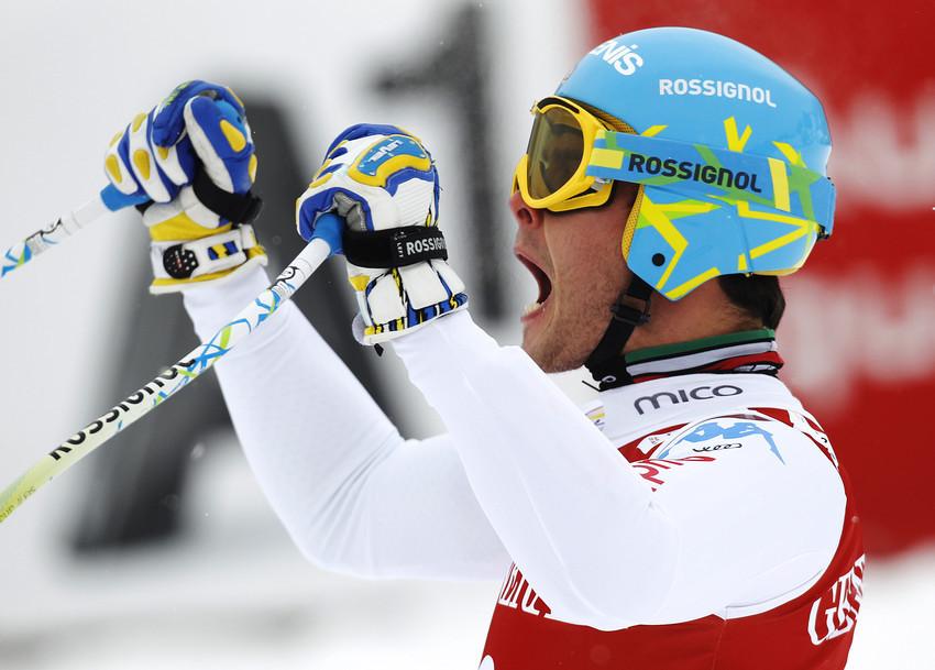 Christof Innerhofer freut sich über seinen dritten Rang beim Super G in Kitzbühel 2013 - © Alexis Boichard/Agence Zoom