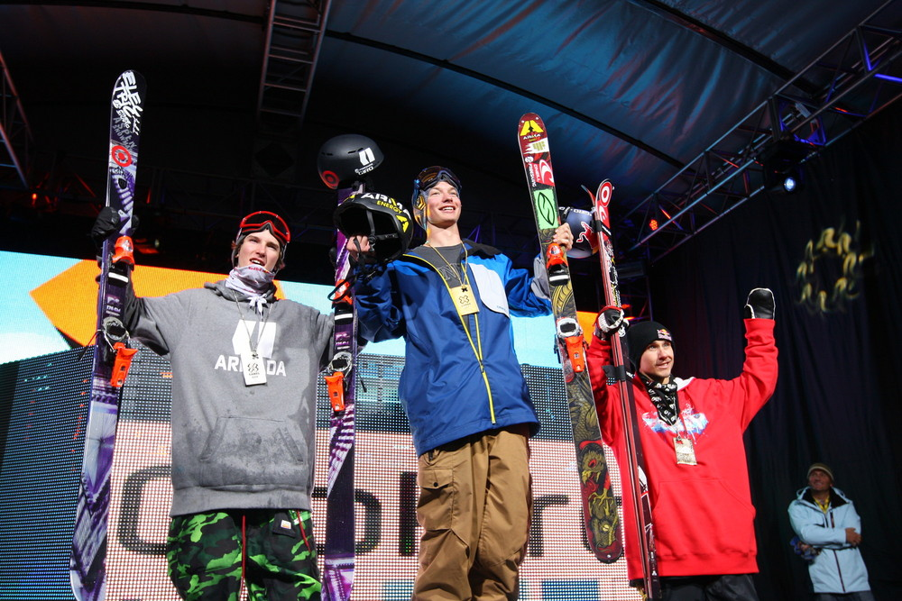 The Men's Ski Superpipe Podium, from left: Torin Yater-Wallace, David Wise, Simon Dumont. - © ESPN