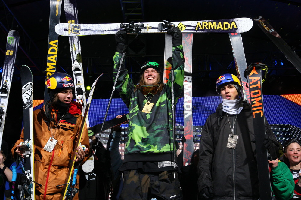 The Skier Big Air podium Saturday night. - © ESPN
