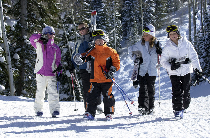 A group of kids head to the chairlift in Steamboat Springs, Colorado