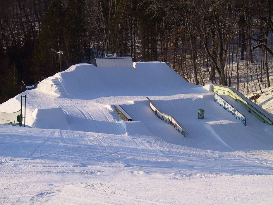 A view of the terrain park and rail garden at Chestnut Mountain Resort, Illinois