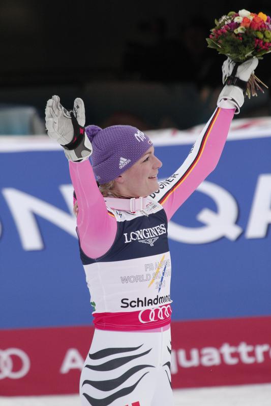 Oh happy day: Maria Höfl-Riesch wurde erneut Weltmeisterin - und gewann später noch zwei Medaillen - © Hook Baderz/AGENCE ZOOM