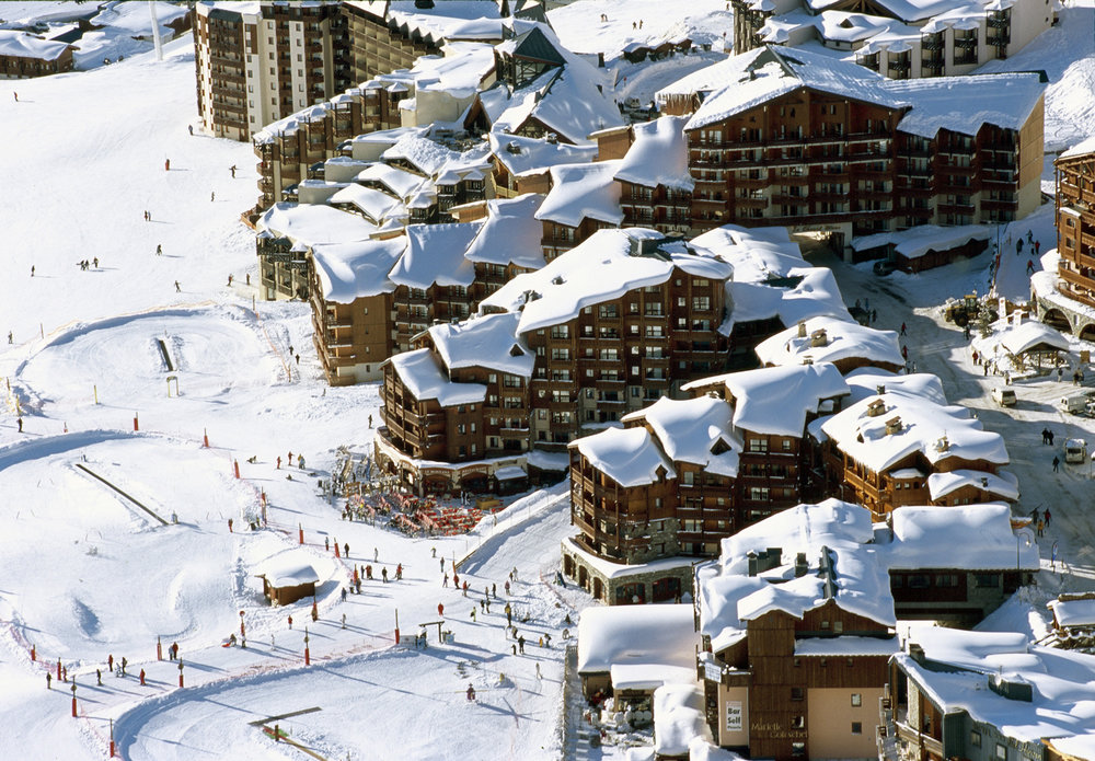Birds eye view of Val Thorens snowpark