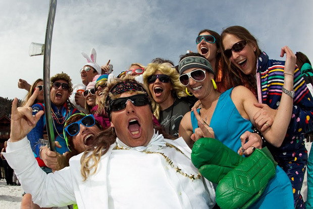 It's not hard to find the spring partiers at Aspen Highlands. - © Jeremy Swanson