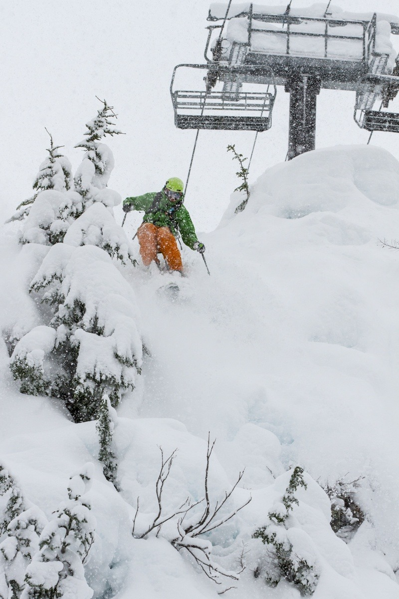 Zack Giffin taking the technical line below the chairlift at Mt. Baker. - © Liam Doran