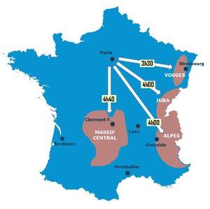 carte TGV vers les stations de ski au départ de Parid