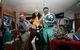 Retro Party revelers in costume.
