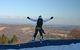 A snowboarder hits the rail in the terrain park in Blue Mountain, Pennsylvania