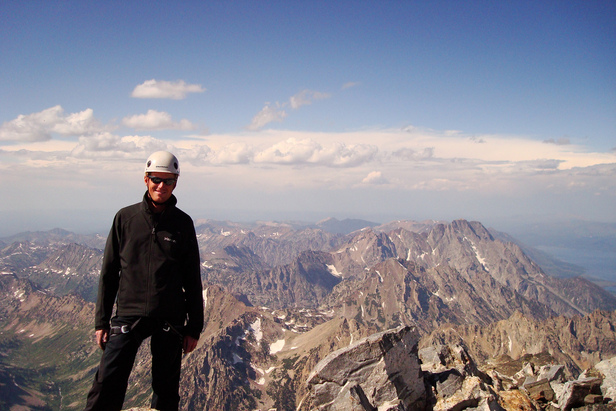 Standing on the summit of the Grand Teton. Photo Courtesy JP Shooter / Flickr